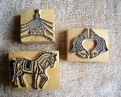 3 Hand-Carved Wood Stamps - Double Fish - Stupa Temple - Horse - Handmade Nepal