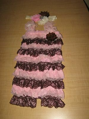 46b8505c4 Pink & Brown Petti Lace Romper & Headband Baby Toddler Cake Smash Outfit