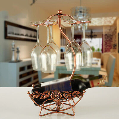 Chic Wine Rack Kitchen Champagne Bottle Glasses Holder Stand Iron Wire Bracket