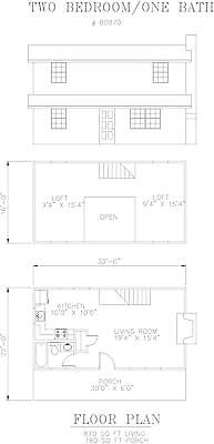 870 square foot two bedroom house plan