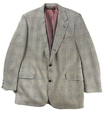 Brooks Brothers Houndstooth Two-Button Blazer Jacket Size 43L 100% Lambs Wool