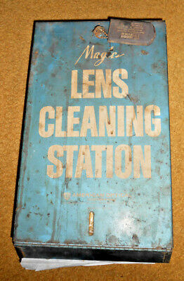 Vintage Magic Lens Cleaning Station Patina Metal Cabinet Wall Decor Industrial