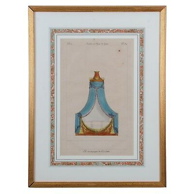 French Empire Bed Engraving from Meubles et Objets de Gout c.1810