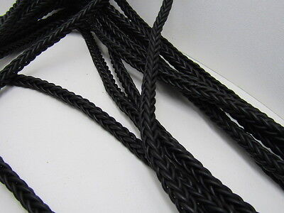 "Leather braided square cord,10 yards of Antique black,  11mm size (7/16""), v1076"