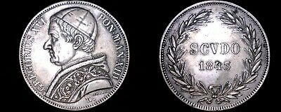 1843-XIIIR Italian States Papal States 1 Scudo World Silver Coin - Gregory XVI