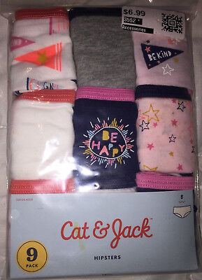 NEW Cat & Jack 9 pack Girls Hipsters size 8 Be kind Be Happy Panties Underwear
