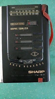 80's Vintage Sharp Walkman w lot Tape Radio Stereo Dolby Sound Equalizer 2AA 3V
