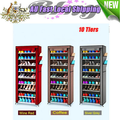 10 Tiers Cover Shoe Cabinet Portable Wardrobe Rack Storage Holder Organiser AU