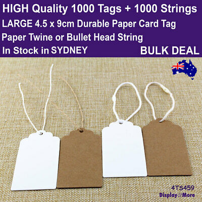 Paper Tag KRAFT Price Label Swing 200pcs LARGE 4.5x9cm + 200 Strings | AUS Stock