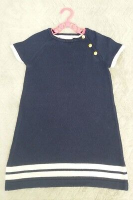 Girls Navy 100% Cotton Blue Sailor Short Sleeve Tunic/Dress (2-4 Years) - By H&M