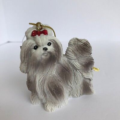 Resin Shih Tzu Dog Christmas Ornament Holiday Tree Decoration Puppy Dog Pet