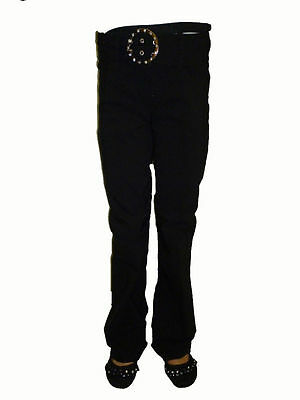 Kids Children Girls Black Stretchy Bootleg School Trousers/Pants Age 8 - 13 Yrs