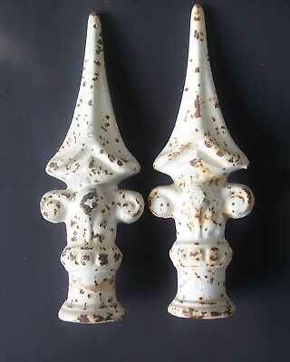 2 Antique Primitive Cast Wrought Iron Fence Finials Salvaged Architecture Shabby