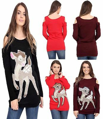 72ad9dde NEW WOMENS LADIES Christmas Bambi Baby Deer Print Knitted Xmas ...