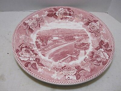 """Wedgwood Red Transfer Ware Fort Ticonderoga On Lake Champlain 10"""" Plate"""
