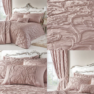 BENTLEY Traditional Jacquard Duvet Cover/Quilt Cover Set Bedding Range Blush