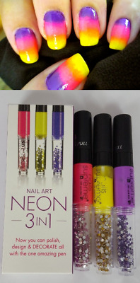 3 In 1 Neon Nail Varnish Pen Art Design Gem Polish Manicure Decoration Brush Set