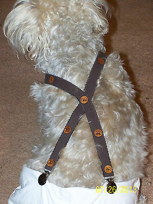 Dog-Suspenders-Pet-Diaper-Accessories-Brown/Wood Buttons-Custom Made Med Sizes