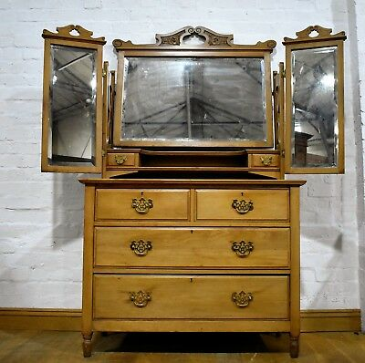 Antique Victorian satin Walnut wing mirror dressing table - chest of drawers