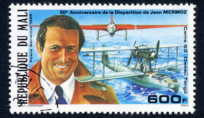 francobollo Africa  Mali 1986 Mermoz- AVIATION PIONEER JEAN MERMOZ ON MALI 1986