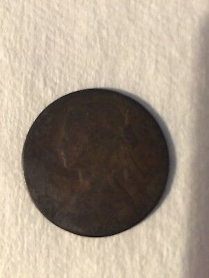 1860 Great Britain One Penny British Queen Victoria Coin