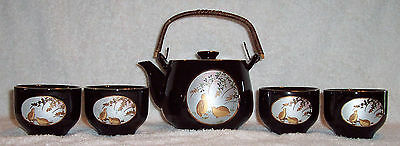 Traditional Japanese Teapot & 4 Cups Fine China Set - Birds Design - New In Box