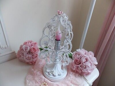 Petite Shabby French Chic Faux Crystal Beaded Lamp W/ Cherub , Rose&pink Bulb