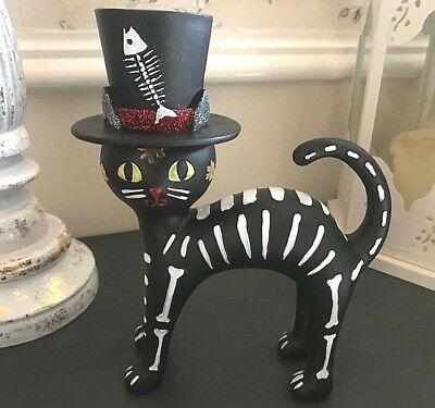 Steampunk Black Cat in a Hat Figurine Day of the Dead Halloween Cat Lovers Gift