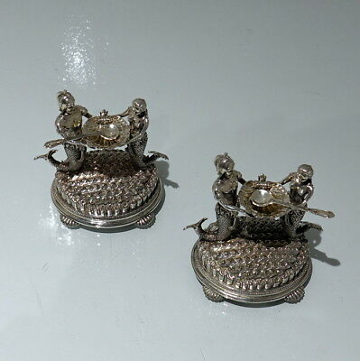19th Century Antique Victorian Silver Plate Pair Figural Salts Circa 1890