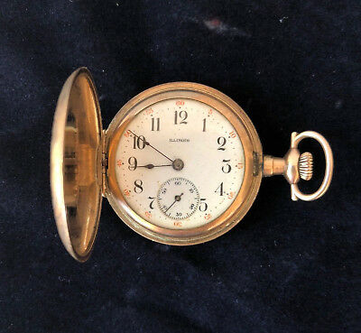 Antique 1913 ILLINOIS 11J Jewel Hunter POCKET WATCH w Diamond Philadelphia Case