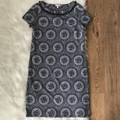 Talbots Black & White Dress with Pom Poms Medallion Floral Womens Small