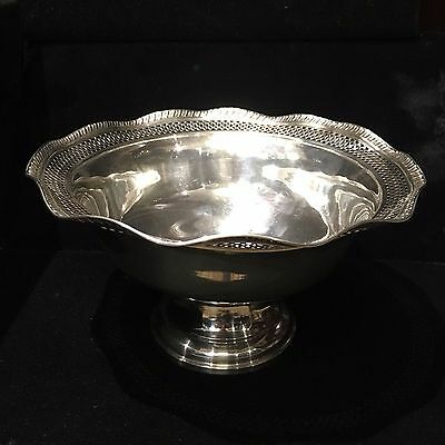 Antique Sterling Silver Pierced Filigree Compote Bowl Weighted 1930's $3K VALUE