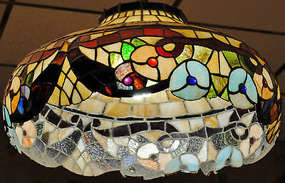 Gorgeous Vintage Tiffany Style Stained Glass Floral Pendant Lamp - Est $20K!
