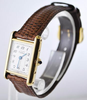 Cartier Tank Paris Quartz Wristwatch Rectangle Triple Signed in 18KYG $12K VALUE