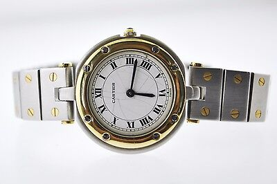 Cartier Two-Tone Round Quartz Small Wristwatch Triple Signed YG & SS $7K VALUE