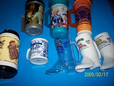 Dolly Parton Lot Of (7) Dollywood Dixie Plastic Mugs! (1) Glass Cup