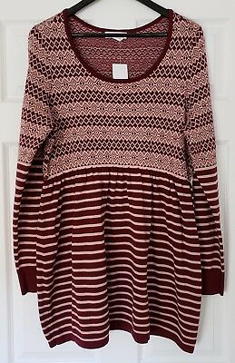 *MOTHERHOOD Maternity Long Sleeve Sweater Nordic Prints Size L NWT*