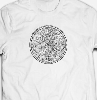 VINTAGE ASTRONOMY ASTROLOGICAL COSMOS CHART MAP 100% cotton Mens T-shirt Tee