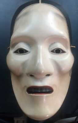Japanese Traditional Male Theater Noh Mask Wood
