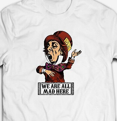 MAD HATTER ALICE IN WONDERLAND RETRO 100% cotton Mens VINTAGE STEREO T-shirt Tee