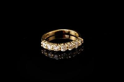 Vintage 7 Cubic Zirconia 14K Yellow Gold Ring Band A45898