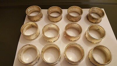 12 Silver plated lot beaded napkin rings holders vtg