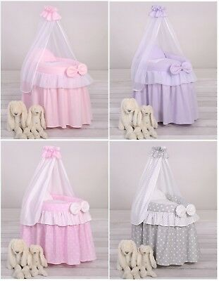 New Wicker Baby Doll Crib Moses basket bed with drapes and bedding - 4 colours