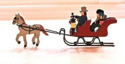 Wood Metal Miniature Winter Christmas One Horse Open Sleigh Family Decoration