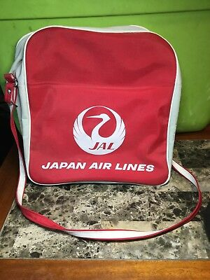Vintage Japan Air Lines JAL Red And Grey Carry Case With Strap