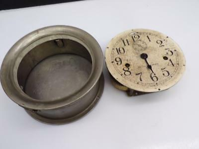 "USN US Navy WW2 7"" Seth Thomas Ship's Control  Clock Movement Nickel Case E641"