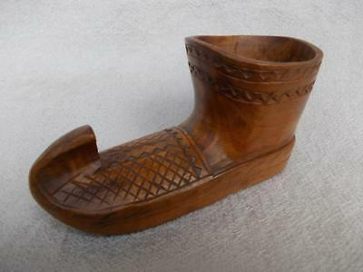274 / Early 20Th Century Hand Carved  Wooden Shoe Shaped Spill Vase