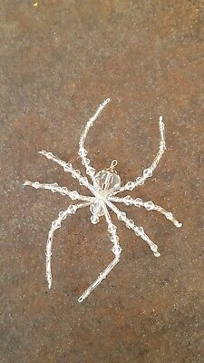 Clear Glass Beaded Christmas Spider Ornament German Legend of Tinsel