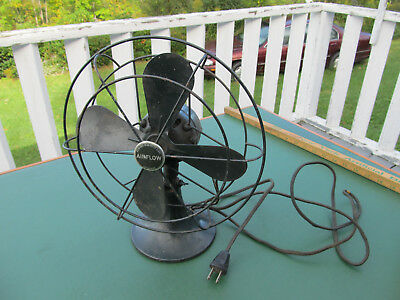 """Vintage Green 12"""" Tall AIRFLOW Electric Oscillating Fan with Cast Iron Base"""