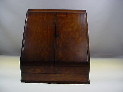 Antique Oak Secretary Table Top Secretaire Letter Stationary Cabinet W-Key